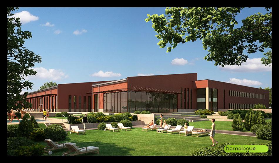 Szendrő Építész Stúdió A nemrég átadott fürdő bővítése uszodával, tanuszodával.